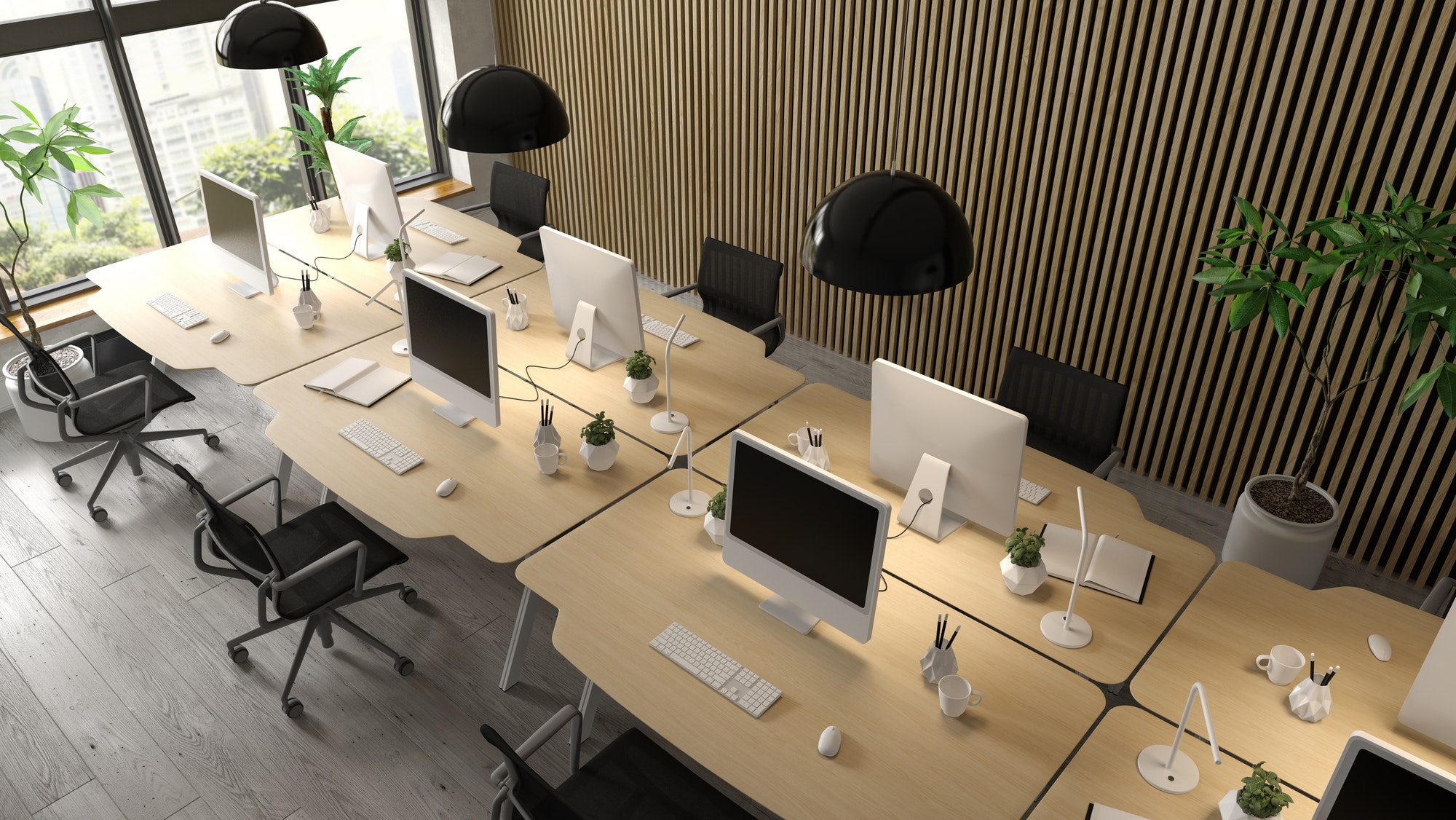 Interior of modern office room 3D rendering